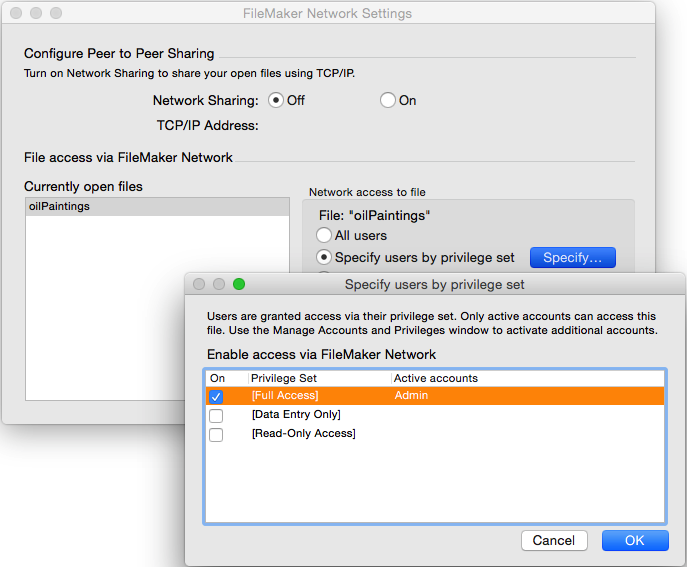 Databases like FileMaker Pro give fine-grained control over who can access what.