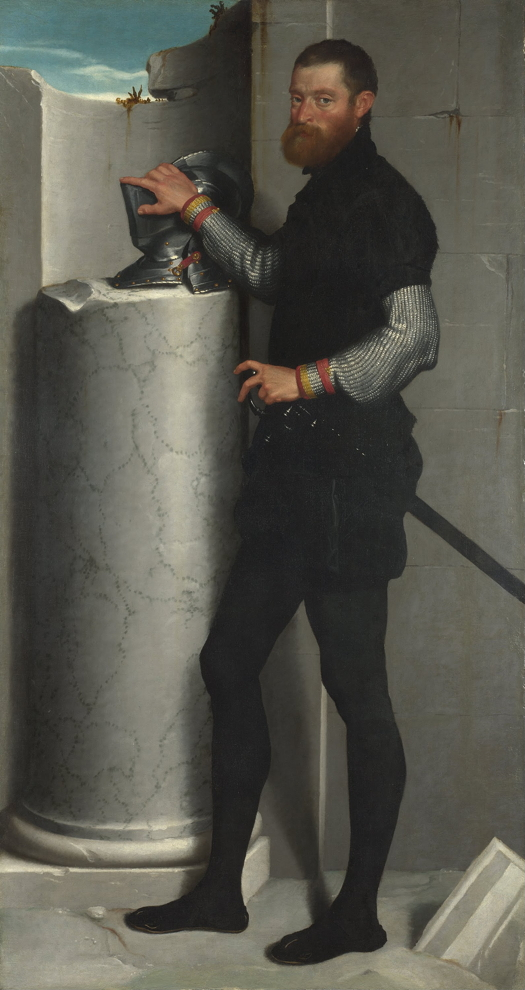 Giovanni Battista Moroni, Portrait of a Gentleman with his Helmet on a Column Shaft, c 1555-6, oil on canvas, 186.2 x 99.9 cm, The National Gallery, London. Wikimedia Commons. Shading on the column makes it appear cylindrical, adding depth.