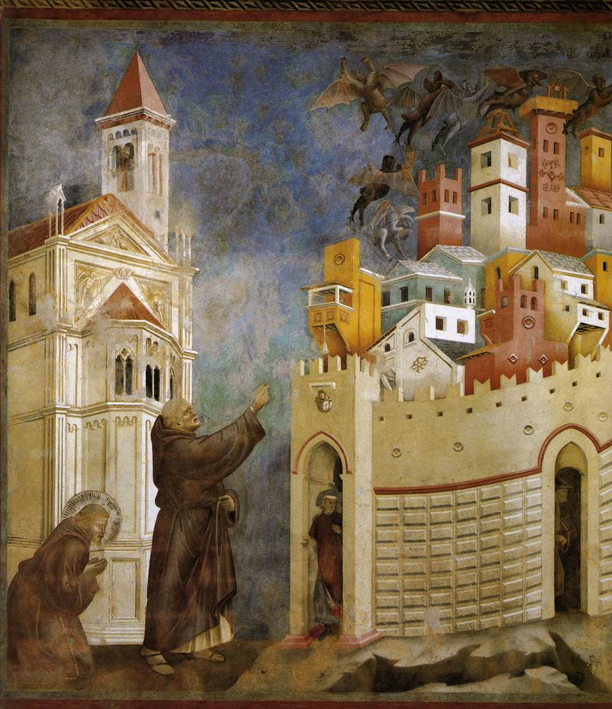 Giotto, Exorcism of the Demons at Arezzo (1299), fresco, 270 x 230 cm, San Francesco, Upper Church, Assisi, Italy. WikiArt.