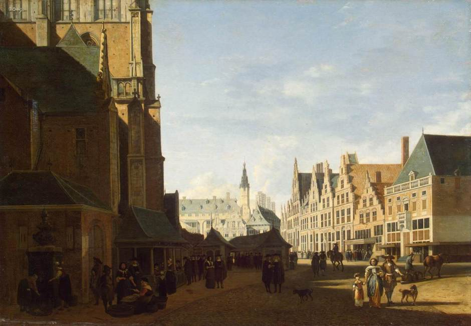 Gerrit Adriaensz Berckheyde, Groote Market in Haarlem, Amsterdam, 1673, oil on panel, 42 x 61 cm, Hermitage Museum, St Petersburg. Wikimedia Commons. Shadows give strong depth cues.