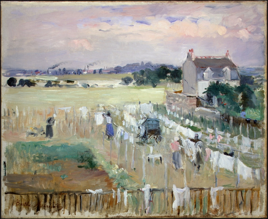 Berthe Morisot, Hanging the Laundry out to Dry (1875), oil on canvas, 33 x 40.6 cm, National Gallery of Art, Washington DC. WikiArt.
