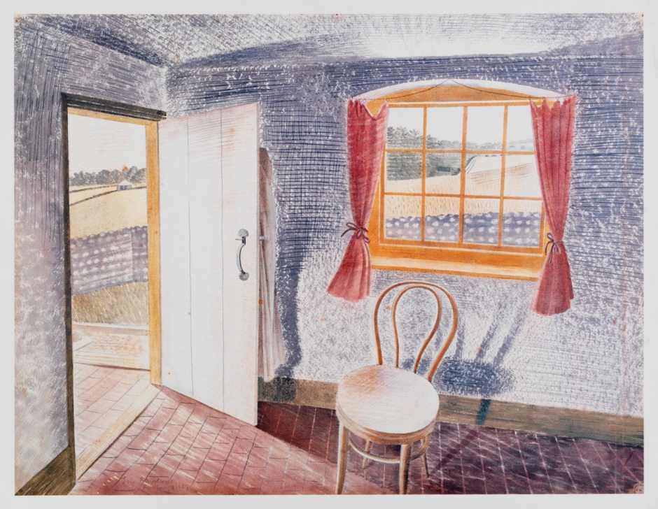 Eric Ravilious, Interior at Furlongs (1939), watercolour and pencil on paper, 45.8 x 54.4 cm, Private collection. Wikimedia Commons.