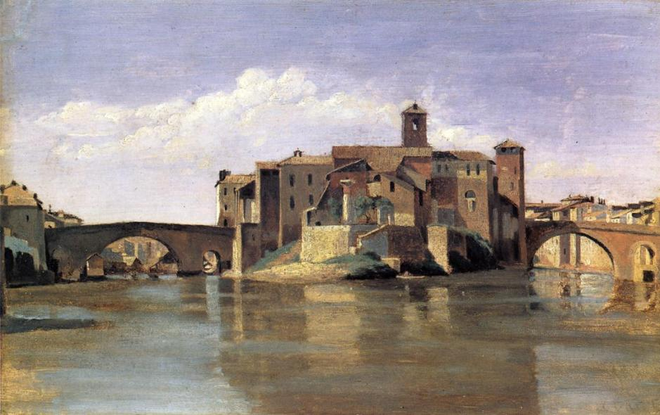 Jean-Baptiste-Camille Corot, The Island and Bridge of San Bartolomeo (1825/8), oil on paper on canvas, 27 x 43.2 cm, National Gallery of Art, Washington DC. WikiArt.