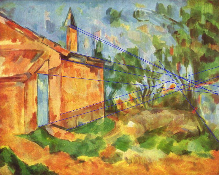 Paul Cézanne, Le Cabanon de Jourdan (Jourdan's Cabin) (projection marked) (1906), oil on canvas, 65 x 81 cm, Galleria Nazionale d'Arte Moderna, Rome. WikiArt.