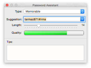 Password Assistant, accessed via the key icon in authentication dialogs, lets you generate strong passwords.