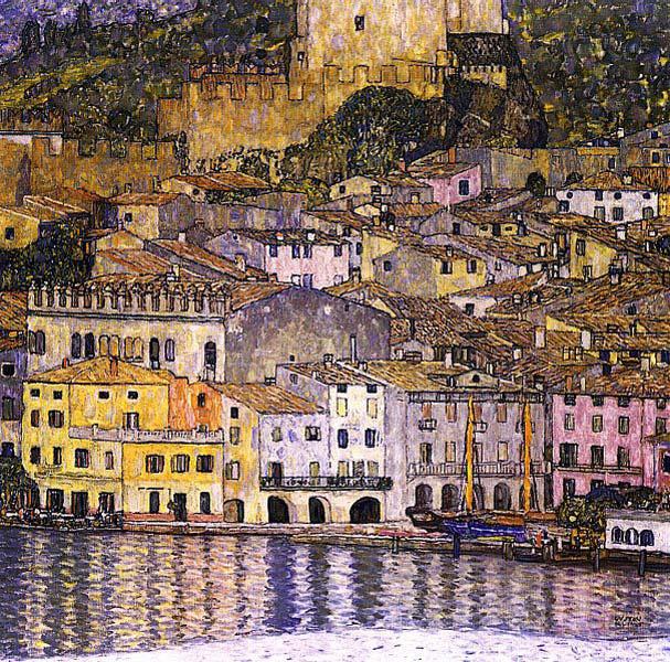 Gustav Klimt, Malcesine on Lake Garda (1913), oil on canvas, 110 x 110 cm, destroyed by fire in 1945. WikiArt.