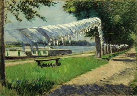 Gustave Caillebotte, Laundry Drying on the Banks of the Seine, Petit Gennevilliers (c 1892), oil on canvas, 105.5 x 150.5 cm, Wallraf-Richartz-Museum, Cologne. WikiArt.