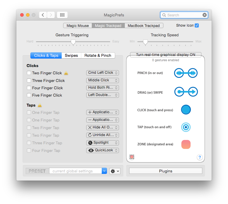 MagicPrefs extends Apple's trackpad support, including control over sensitivity.