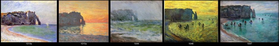 "Claude Monet, some of paintings in the ""Manneporte"" series at Étretat, painted in 1885-6. Wildenstein catalogue numbers are given."