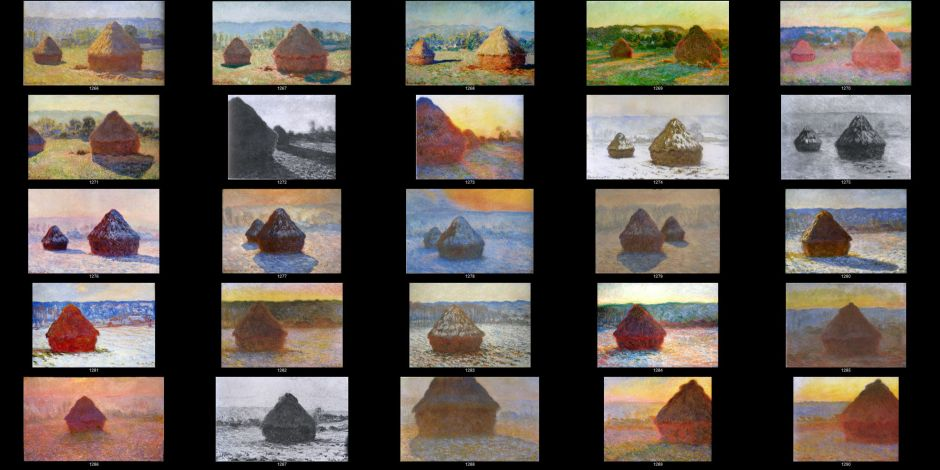 "Claude Monet, the complete ""Grainstacks"" series of 1890-1, referenced by their Wildenstein numbers."