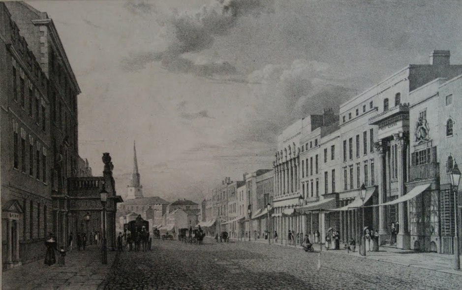 New Street Birmingham, c 1825, engraving. By Henry Harris, via Wikimedia Commons. Careful use of texture in this engraving provides good cues to depth.