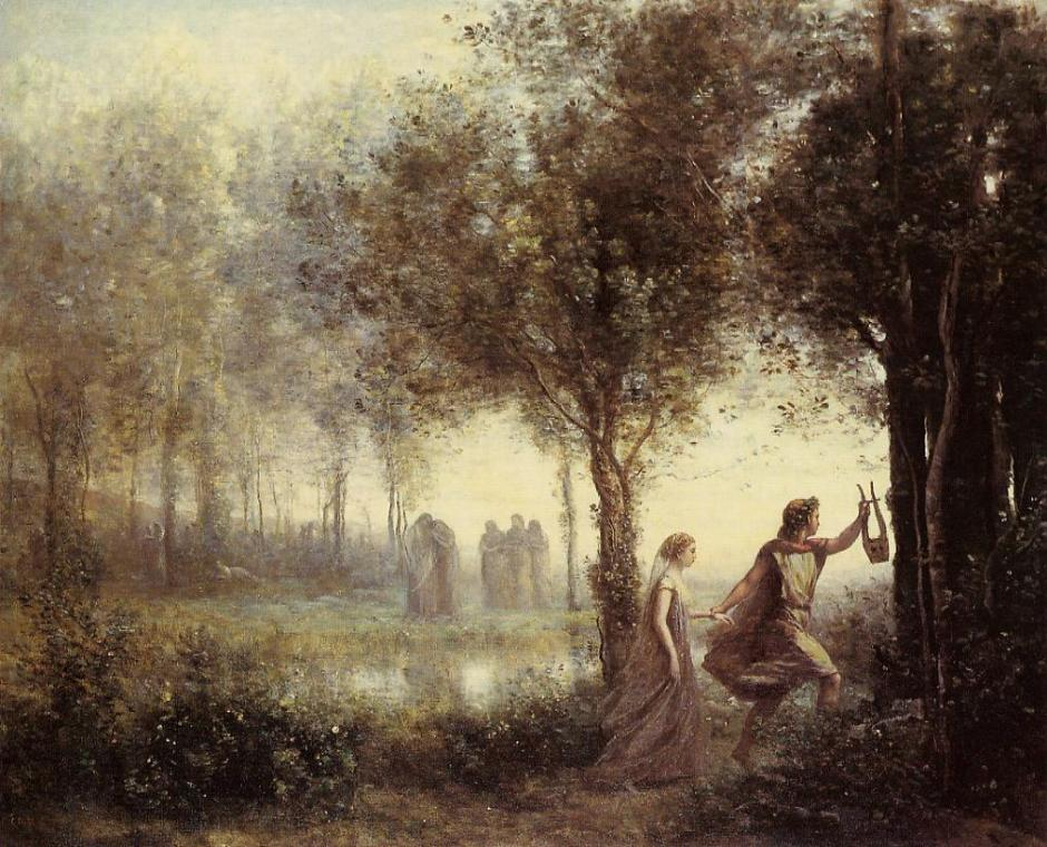 Jean-Baptiste-Camille Corot, Orpheus Leading Eurydice from the Underworld (1861), oil on canvas, 44 x 54 cm, Museum of Fine Arts, Houston TX. WikiArt.