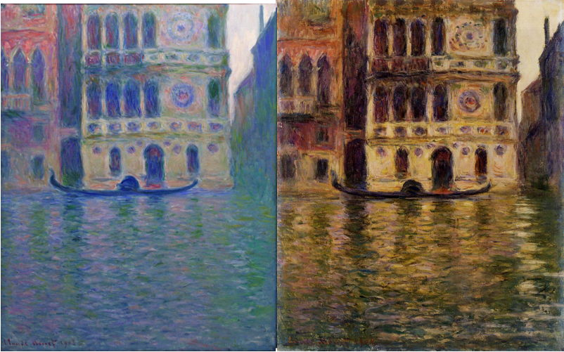 Claude Monet, two paintings from the Palazzo Dario series (1908) which appear to resemble one another too much to have been painted on separate occasions. WikiArt.