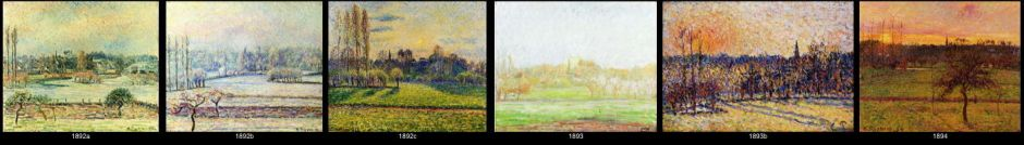 Camille Pissarro, a tiny sample of the many paintings in his Bazincourt series, circa 1892-4.