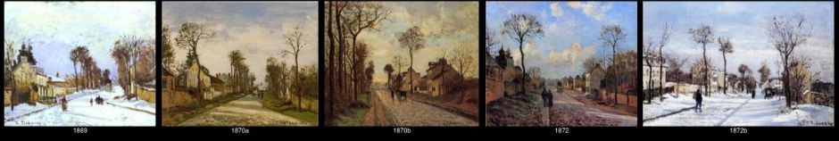 Camille Pissarro, some of the road at Louveciennes series painted between 1869 and 1872.