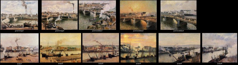 Camille Pissarro, a sample of paintings from his Rouen branched series of about 1896.
