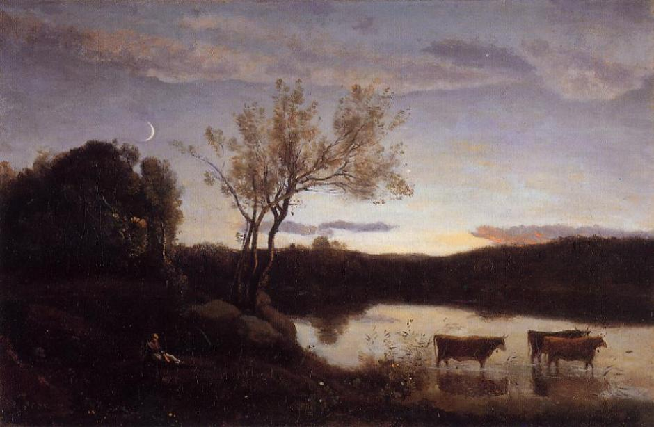 Jean-Baptiste-Camille Corot, A Pond with Three Cows and a Crescent Moon (c 1850), oil on canvas, 35.5 x 53.4 cm, Private collection. WikiArt.