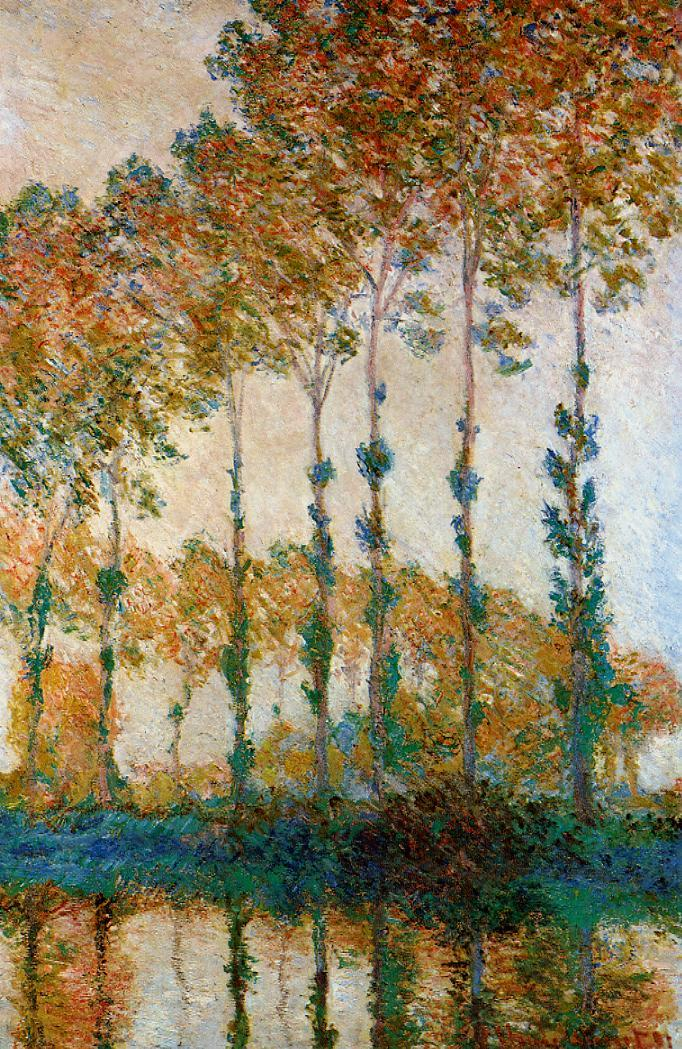 Claude Monet, Poplars on the Bank of the Epte, Autumn (1891) W1297, oil on canvas, 100 x 65 cm, Museum of Fine Arts, Boston. WikiArt.