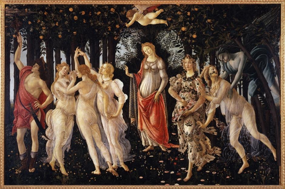Sandro Botticelli (Alessandro di Mariano di Vanni Filipepi), Primavera (Spring) (c 1482), tempera on panel, 202 x 314 cm, Galleria degli Uffizi, Florence. Wikimedia Commons.