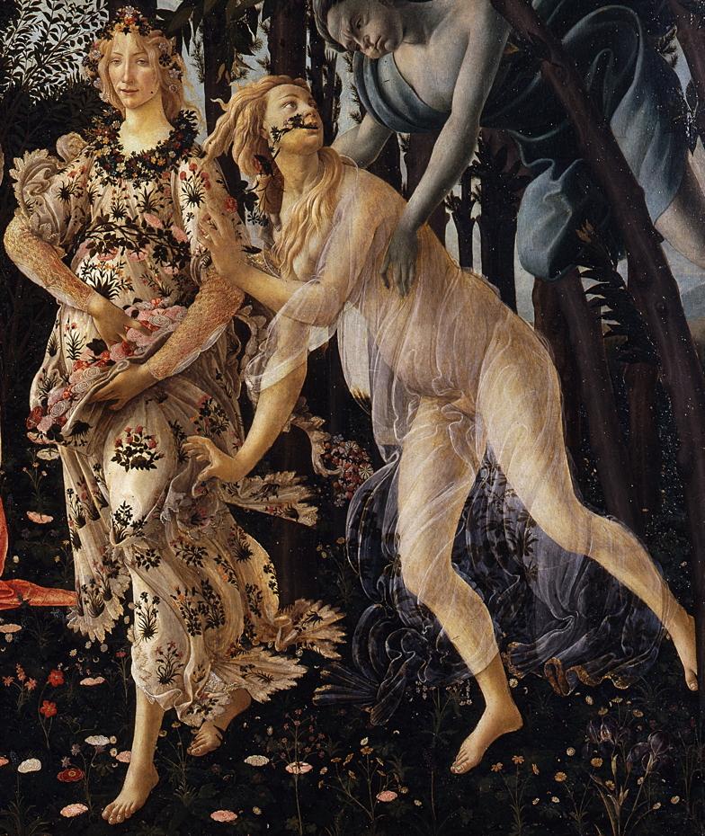 Sandro Botticelli (Alessandro di Mariano di Vanni Filipepi), Primavera (Spring) (detail) (c 1482), tempera on panel, 202 x 314 cm, Galleria degli Uffizi, Florence. Wikimedia Commons.
