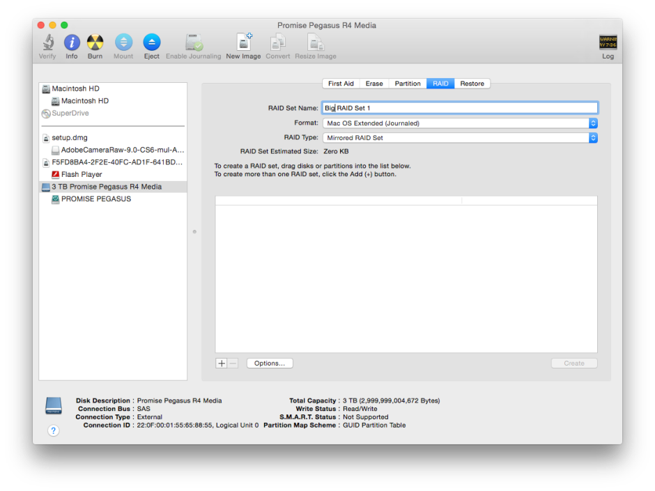 Use Disk Utility to create software 'AppleRAID' sets.