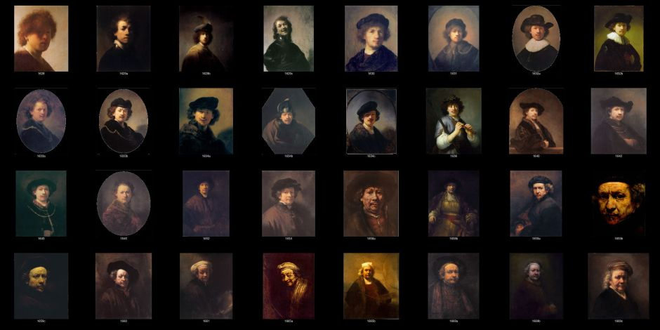Rembrandt, series of painted Self-Portraits, 32 in all, ordered by date. WikiArt.
