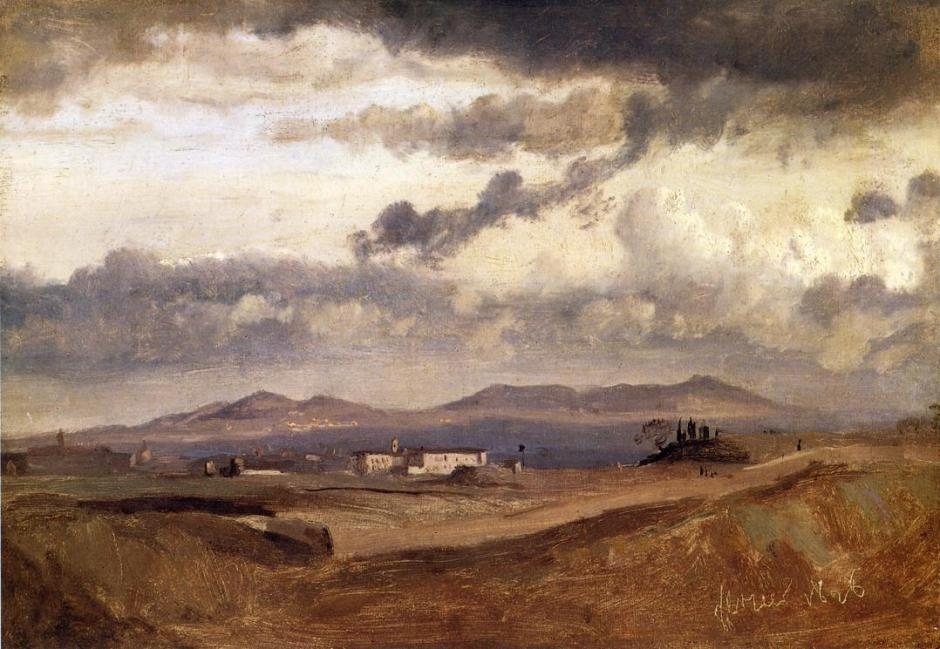 Jean-Baptiste-Camille Corot, View of the Convent of S. Onofrio on the Janiculum, Rome (1826), oil on paper mounted on canvas, 22 x 33 cm, Fitzwilliam Museum, Cambridge, England. WikiArt.