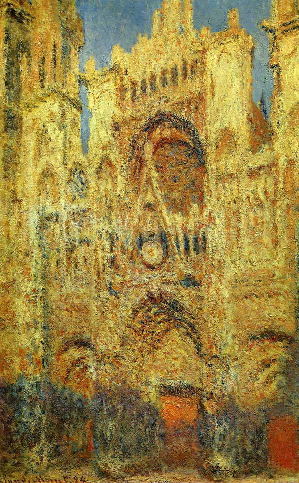 Claude Monet, La Cathédrale de Rouen (1894) W1326, oil on canvas, 100 x 65 cm, Pushkin Museum, Moscow. WikiArt.