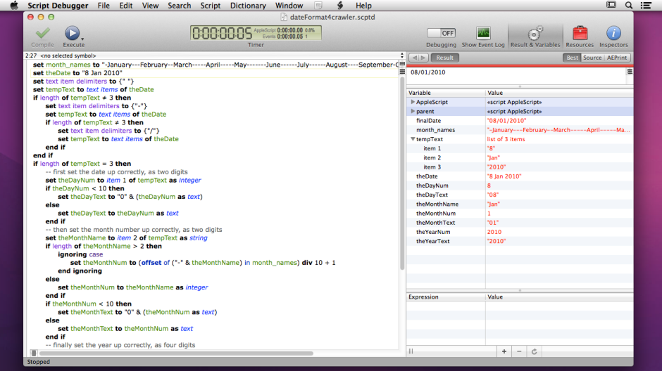 AppleScript to unscramble dates, viewed in Script Debugger.