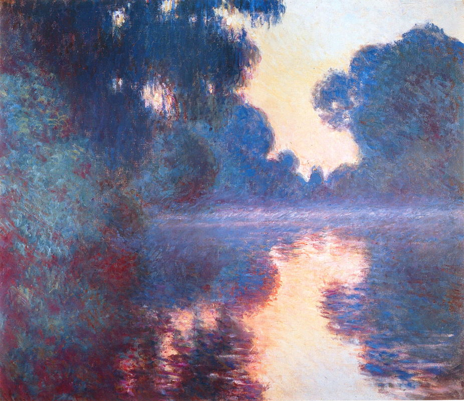 Claude Monet, Branch of the Seine by Giverny at Dawn (1897) W1479, oil on canvas, 81 x 92 cm, Hiroshima Museum of Art, Japan. WikiArt.