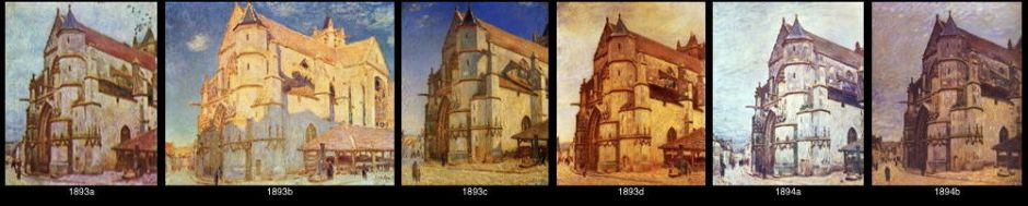 """Alfred Sisley, some of the """"Church at Moret-sur-Loing"""" series of 1893-4."""