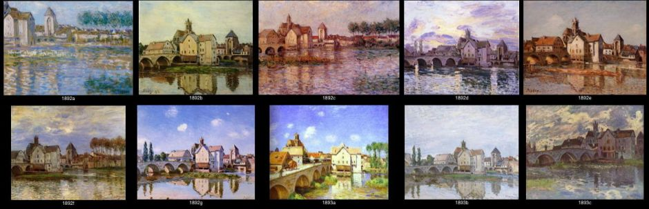 Alfred Sisley, some of the series of views of the bridge and town at Moret-sur-Loing, 1892-3.