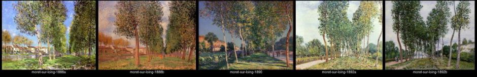 Alfred Sisley, some the paintings making up his series of Poplars at Moret-sur-Loing, 1888-92.