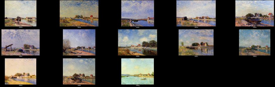 Alfred Sisley, some of the many paintings of Saint-Mammès in 1884-5.