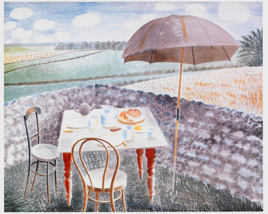 Eric Ravilious, Tea at Furlongs (1939), watercolour and pencil on paper, 35 x 43 cm, The Fry Art Gallery, Saffron Walden, England. Wikimedia Commons.