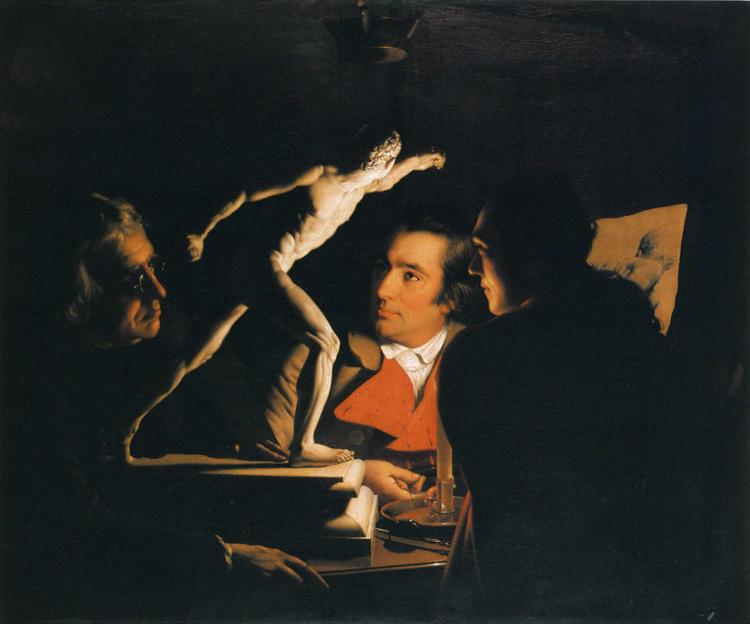 Joseph Wright (of Derby), Three Persons Viewing the Gladiator by Candlelight, 1765, oil on canvas, 101.6 x 121.9 cm, Private collection. WikiArt. Even in shallow views, shadow can be a strong cue to depth.