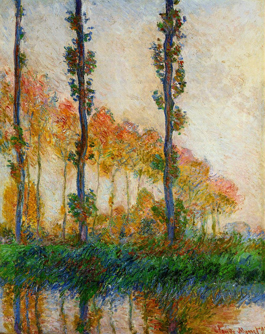 Claude Monet, Les Trois Arbres, automne (1891) W1308, oil on canvas, 92 x 73 cm, Private collection. WikiArt.