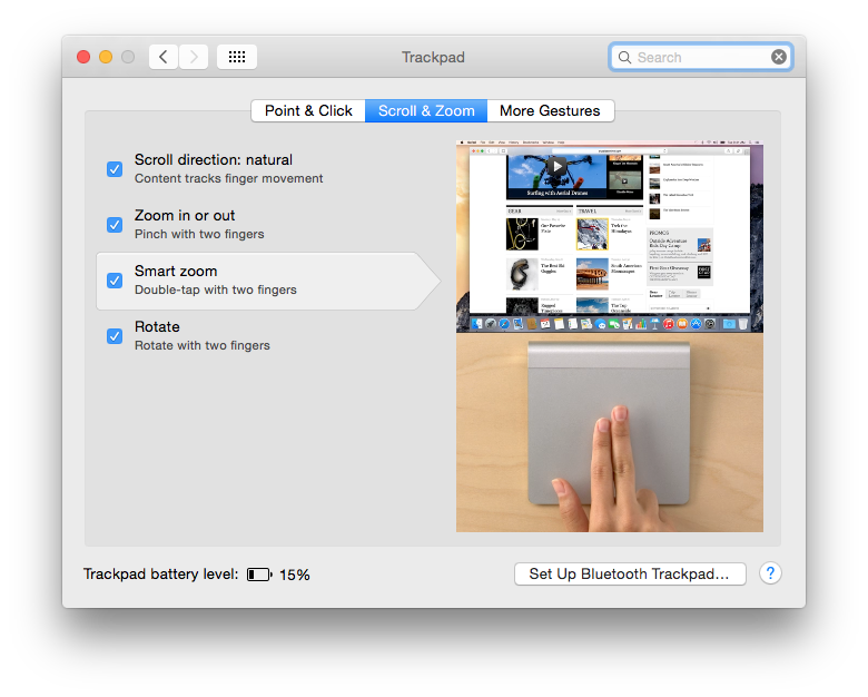The standard Trackpad pane includes demonstration movies of gestures.
