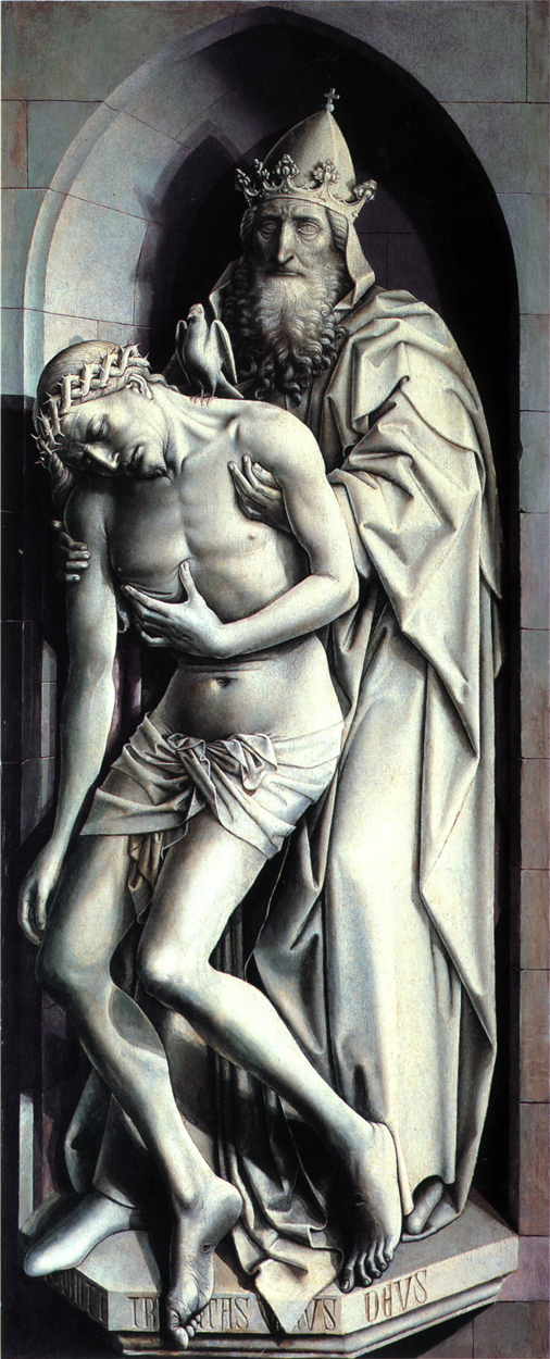Robert Campin, The Trinity of the Broken Body, 1410, grisaille on panel, 147.5 x 57.6 cm, Städelsches Kunstinstitut, Frankfurt am Main. WikiArt. Shade and shadow transform this grisaille to appear strongly three-dimensional.