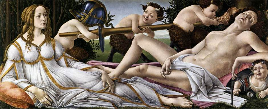 Sandro Botticelli (Alessandro di Mariano di Vanni Filipepi), Venus and Mars (c 1485), tempera and oil on poplar panel, 69.2 x 173.4 cm, The National Gallery, London. WikiArt.