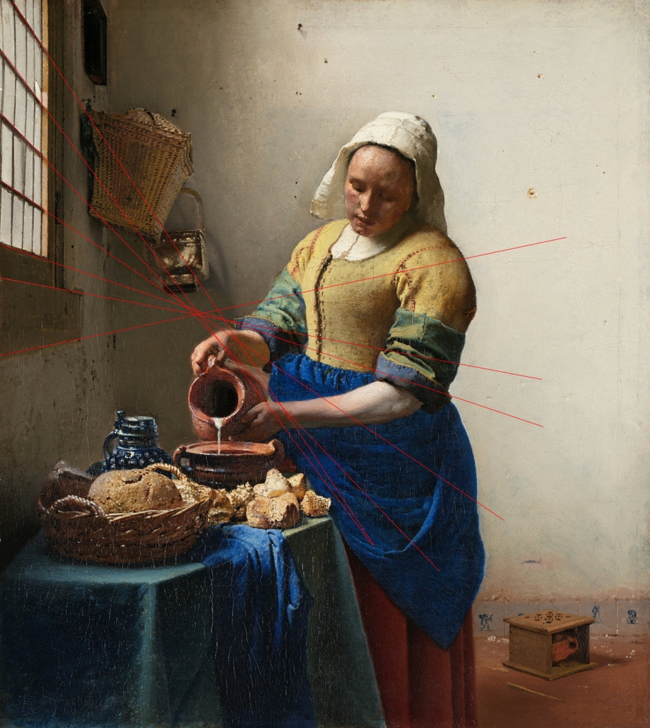 Johannes Vermeer, The Milkmaid (projection marked) (c 1658-1661), oil on canvas, 45.5 x 41 cm, The Rijksmuseum, Amsterdam. WikiArt.