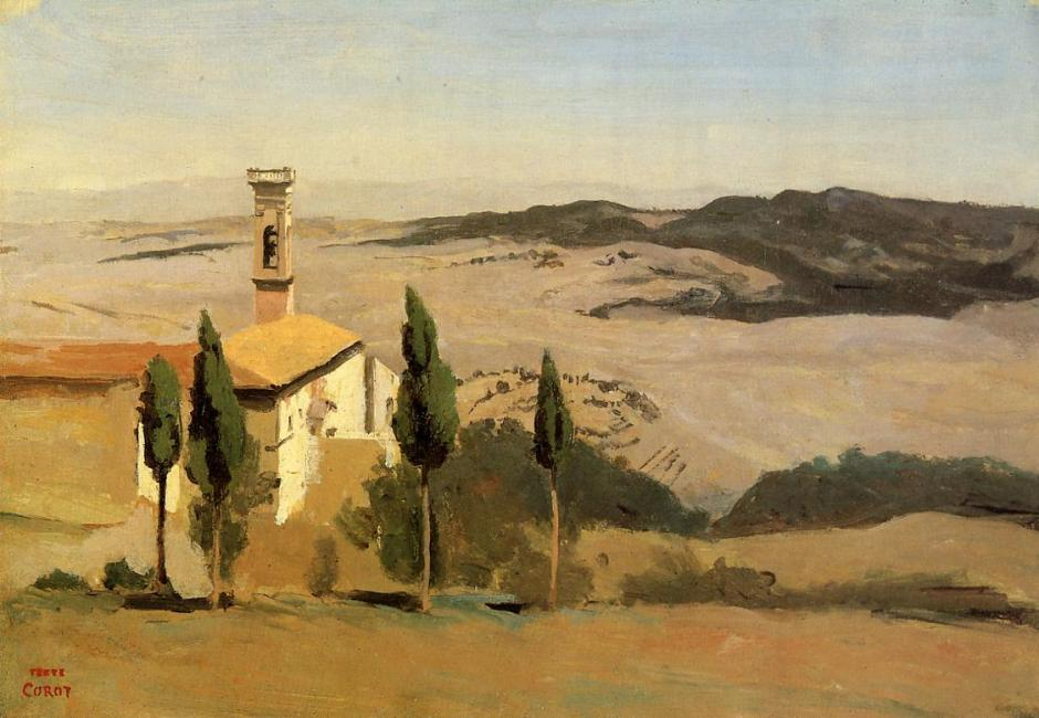 Jean-Baptiste-Camille Corot, Volterra, Church and Bell Tower (1834), oil on canvas (?), 29 x 42 cm, Private collection. WikiArt.