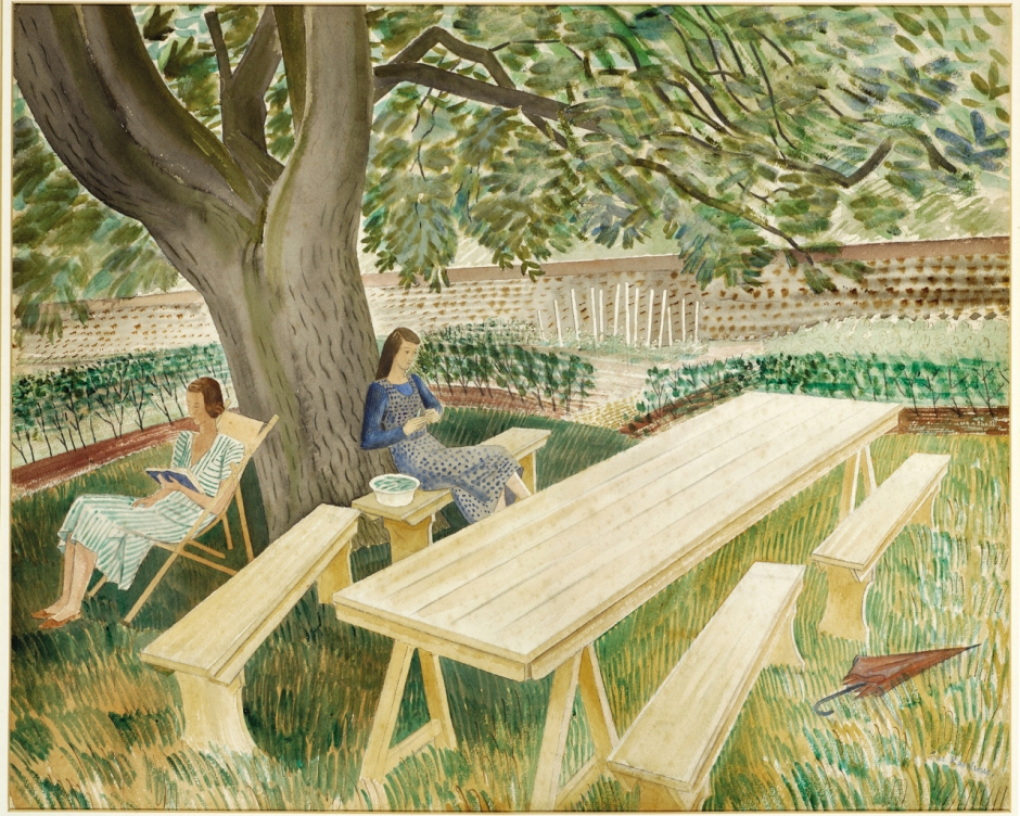 Eric Ravilious, Two Women in a Garden (1933), watercolour and pencil on paper, The Fry Art Gallery, Saffron Walden, England. Wikimedia Commons.