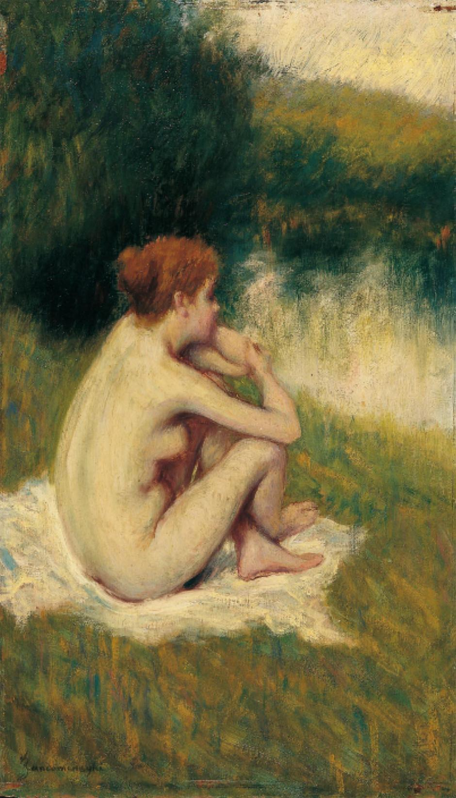 Federico Zandomeneghi, After the Bath (date unknown), oil on canvas, further details unknown. WikiArt.