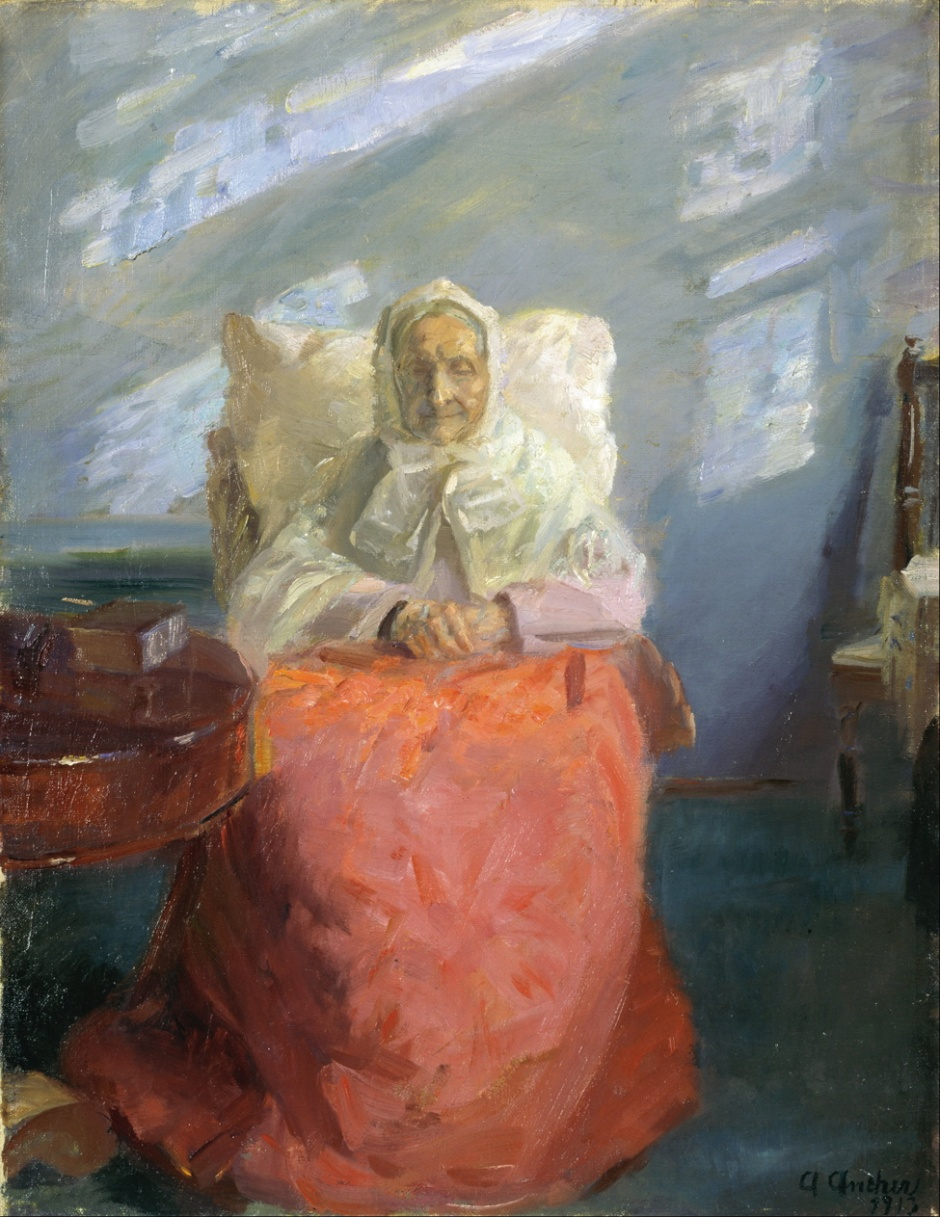 Anna Ancher, Mrs Ane Brøndum in the Blue Room (1913), oil on canvas, 55.8 x 42.7 cm, Skagens Museum, Denmark. Wikimedia Commons.