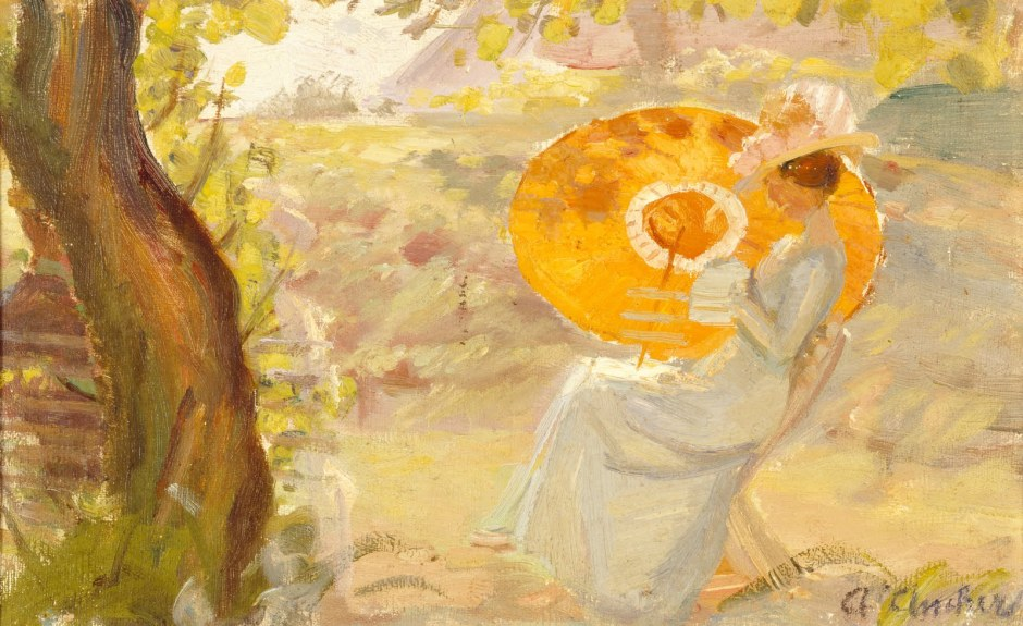 Anna Ancher, Young Woman in the Garden with an Orange Parasol (after 1915), oil on canvas, 31.8 x 20 cm, BRANDTS Museum for Art & Visual Culture, Denmark. Wikimedia Commons.