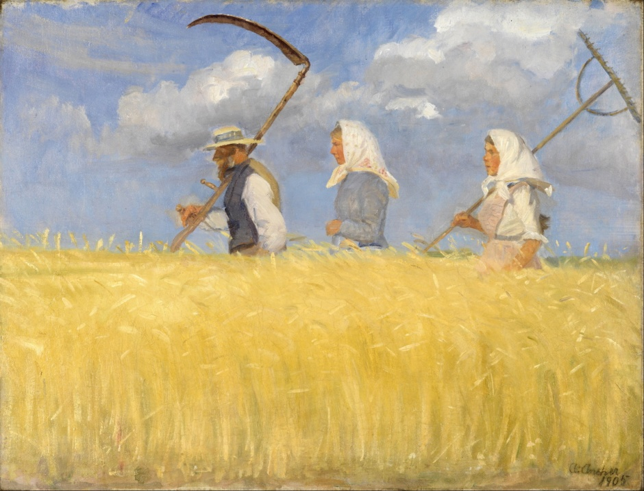 Anna Ancher, Harvesters (1905), oil on canvas, 56.2 x 43.4 cm, Skagens Museum, Denmark. Wikimedia Commons.