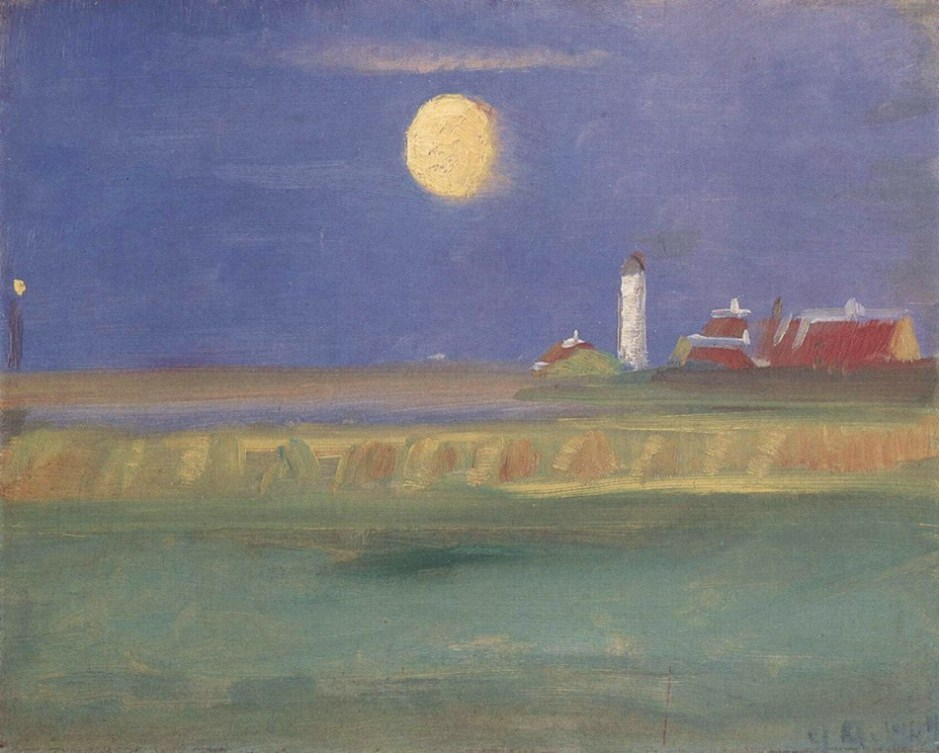 Anna Ancher, Moonlit Evening. Lighthouse (1904), oil on cardboard, 23 x 28 cm, Location not known. Wikimedia Commons.