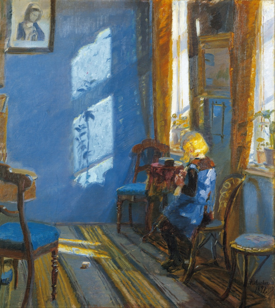 Anna Ancher, Sunshine in the Blue Room, Helga Ancher Crocheting in her Grandmother's Room (1891), oil on canvas, 65.2 x 58.8 cm, Skagens Museum, Denmark. Wikimedia Commons.