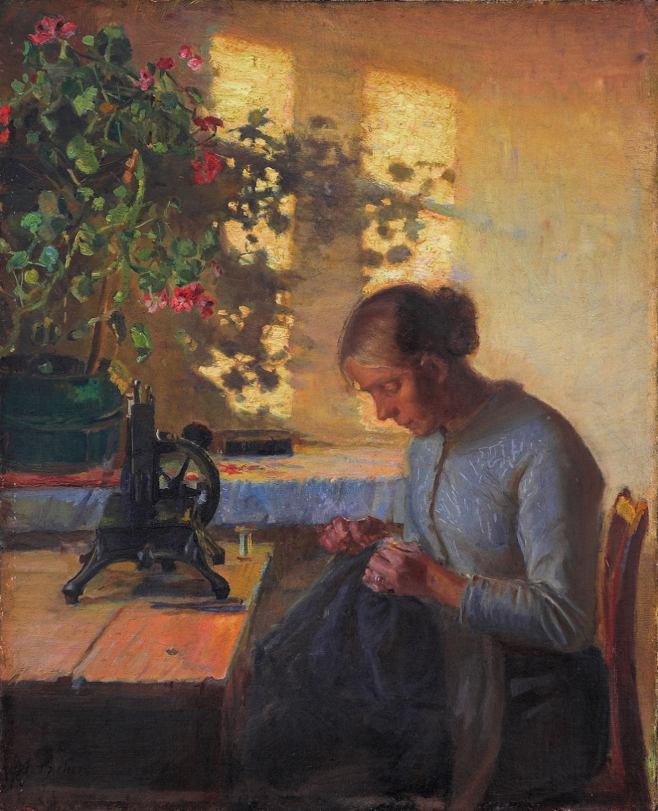 Anna Ancher, Fisherman's Wife Sewing (1890), oil on canvas, 59 x 48 cm, Randers Art Museum, Denmark. Wikimedia Commons.